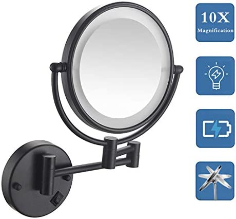 NaDrn Wall Mounted Makeup Mirror with 10X Magnification, 8 Inch Double Sided Vanity Magnifying Vanity Mirror with LDE Lights for Girls, USB Rechargeable, Matte Black