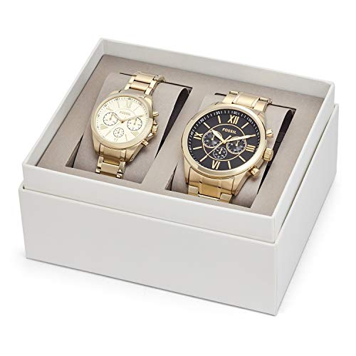 Fossil His and Her Chronograph Gold-Tone Stainless Steel Watch Gift Set - Watch Set Hers