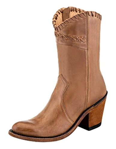 Old West Fashion Boots Women Side Zipper Leather 10 M Tan Canyon 18153