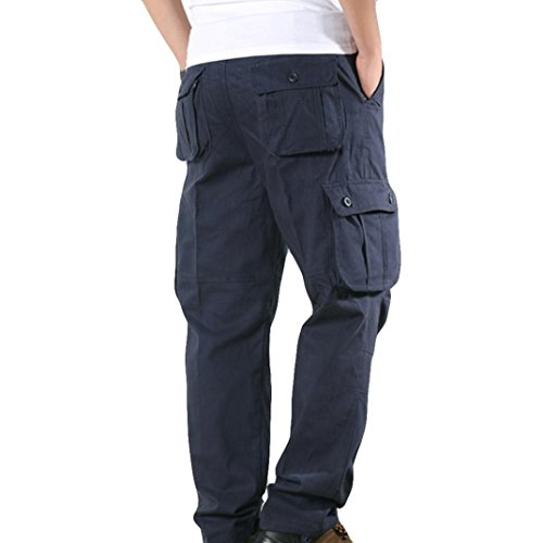 Gillberry Men's Outdoor Casual Military Tactical Wild Combat Cargo Work Pants with 6 Pockets (Navy, 34)