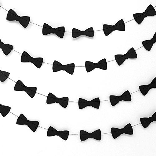 Bobee Bow Tie Party Decorations Paper Garlands 1 Long 14 Foot Strand, 50 Count 2 Inch Bow Ties per Strand