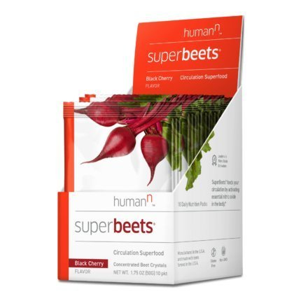 HumanN SuperBeets Circulation Superfood Concentrated Beet Powder Nitric Oxide Boosting Supplement (Black Cherry Flavor, 0.175-Ounce, 10 Packets) by HumanN