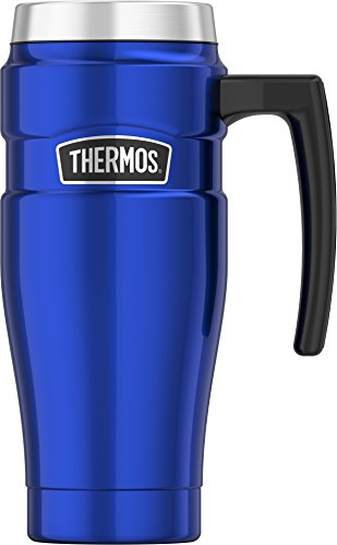 Thermos SK1000BLTRI4 Stainless King 16 oz Travel Mug with Handle, Electric Blue