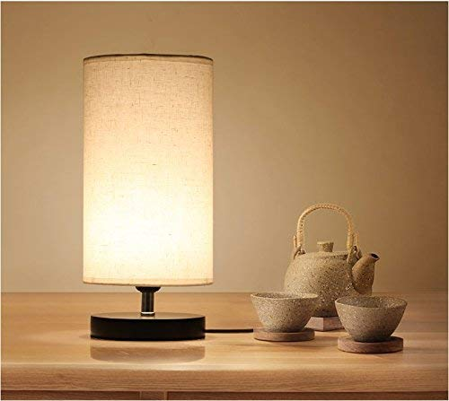 DEEPLITE Bedside Table Lamp, Desk Lamp, Nightstand Lamp with Solid Wood Base and Fabric Shade for Bedroom, Living Room, Dresser, Kids Room, Study, Coffee Table, Bookcase (Round) by DEEPLITE (Image #2)