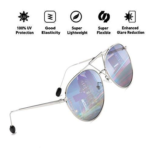 Lens Fashion Hombres con Eyewear para HD Sunglasses Protection Oval Plata ATNKE PC Oversized Reflective Aviator Frame Mujeres UV400 14P7xwnXp