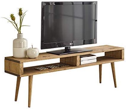 Mesa televisión, Mueble TV salón diseño Vintage 2 Huecos, Madera ...