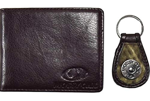 Mossy Oak Mens Bifold PU Leather Wallet Color Solid Brown and a coordinating Engraved Hardware Key Fob Color Camo Brown by Aquarius -