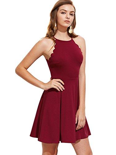 A Pleated Skater Romwe Scallop Line Burgundy Dress Swing Flared Sleeveless Women's Sweet wSRnYq0f