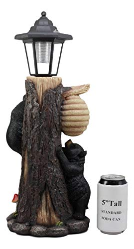 Ebros Large Climbing Black Bear Cubs Reaching for Honeycomb Beehive LED Path Lighter Statue 19''Tall with Solar Lantern Light Welcome Sign Guest Greeter Decor Figurine by Ebros Gift (Image #3)