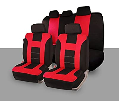 Zone Tech Universal Full Set of Car Seat Covers Racing Style- Red/Black
