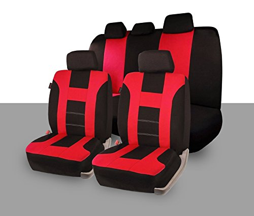 Zone Tech Universal Full Set of Car Seat Covers Racing Style- Red/Black (Dye Chart Color)