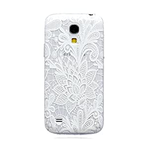Para Galaxy S4 mini , ivencase Transparent Blanco Flor [Ultra Thin] Patrón Flexible Slim Suave Textura TPU Gel Protector [Claro] Trasero Funda Carcasa Tapa Case Cover Perfecto Fit Para Samsung Galaxy S4 mini i9190 / i9192