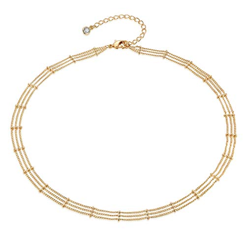 Gold Three Layered Satellite Plain Chain Choker Necklace,Dainty Handmade Boho 14K Gold Plated Cute Tiny Beaded Link Chain Choker Necklace 3 Layered Delicate Simple Minimalist Choker Necklace for Women