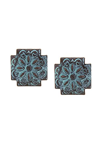 KARMAS CANVAS FLORAL ETCHED CONCHO CLIP EARRINGS (Rhinestone Floral Clip Earrings)