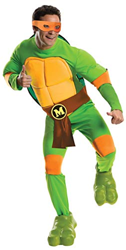 Nickelodeon Rubie's Men's Teenage Mutant Ninja Turtles Deluxe Adult Muscle Chest Michelangelo, Green, Standard