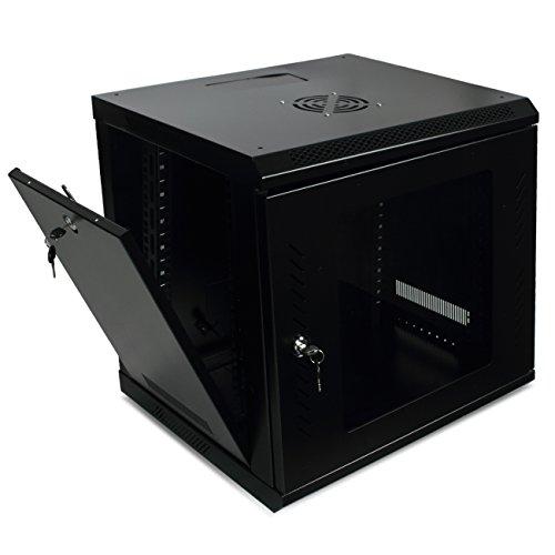 Makom 9U Server Data Cabinet Glass Door Locking with Key Enclosure Wall Mount Network Rack, (Black)