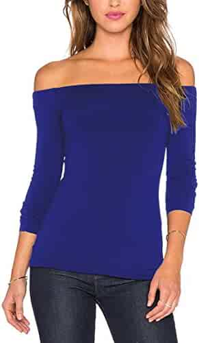 072266e2 Women's Sexy Slim Fit Stretchy Off Shoulder Long Sleeve Blouse Tops Shirt