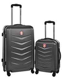 Canada Black Lightweight Hard Side Wheeled Suitcase 2 Piece Luggage Set