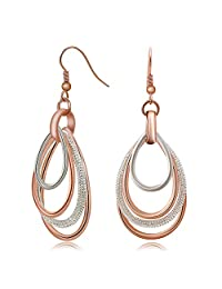 Kemstone Elegant Rose Gold/Silver Two Tone Multilayer Dangle Earrings Accessory for Woman