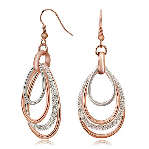 (Kemstone Elegant Rose Gold/Silver Two Tone Multilayer Dangle Earrings Accessory for Woman, 2.4