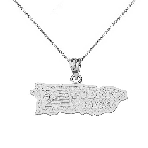 Puerto Rico US State Map Charm Pendant Necklace in Sterling Silver, 16