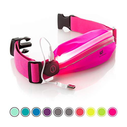 Sport2People LED Reflective Running Belt Pouch with USB Rechargeable Light - Key, iPhone X 6 7 8 Plus Cell Phone Holder for Runners - Best Visibility During Walking and Cycling (Pink Fluo with LED)