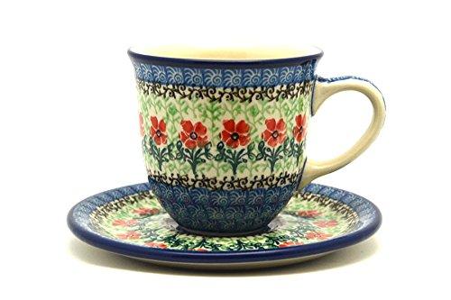 (Polish Pottery Cup & Saucer -)