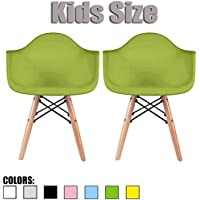 2xhome - Set of Two (2) - Green - Kids Size Eames Armchairs Eames Chairs Green Seat Natural Wood Wooden Legs Eiffel Childrens Room Chairs Molded Plastic Seat Dowel Leg