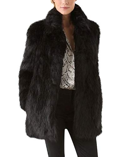 Tanming Women's Casual Stand Collar Long Sleeve Outerwear Faux Fur Jacket Coats (Black, Small)