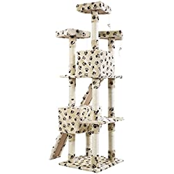 "New 66"" Cat Tree Tower Condo Furniture Scratching Post Pet Kitty Play House 4 Colors! Ship from CA & KS! 1-4 Days Shipment! (Beige With Paws)"