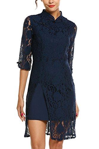 AL'OFA Women's Vintage Cheongsam Stand Collar Lace Slit Hem Cocktail Pencil Dress with Lining, L, Navy Blue ()