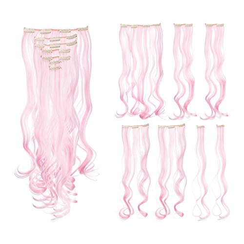 SWACC 7 Pcs Full Head Party Highlights Clip on in Hair Extensions Colored Hair Streak Synthetic Hairpieces (20-Inch Curly, Pink)]()