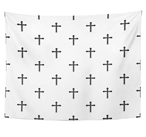 Emvency Tapestry Polyester Fabric Print Home Decor Catolic Holy Cross Pattern in Simple Style Belief Black Catholic Catholicism Wall Hanging Tapestry for Living Room Bedroom Dorm 60x80 inches by Emvency