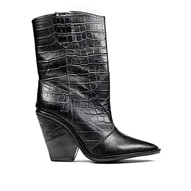 BRAWN'S stivalo Cowboy - Botas de Cuero para Mujer Grigio Perla + PU Laminato Specchio Negro Size: 36 EU