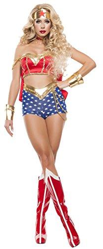 Starline Women's Sexy Star Power 5 Piece Cosplay Costume Set, Red/Gold/Blue, -