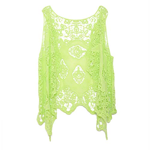 (jastie Open Stitch Cardigan Boho Hippie Crochet Vest (Sharp)