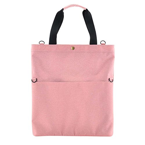 Folding Multipurpose 13.3inch Laptop Bag Large Tote Bag with Strap for Any Occasion (Pink)