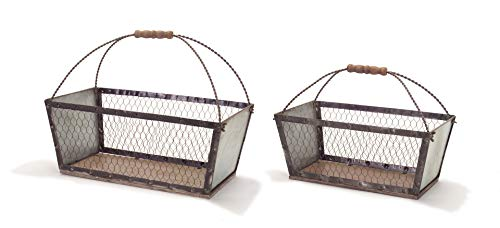 Melrose Set of 2 Rustic Outdoor Rectangle Easy Carrying Handle 10
