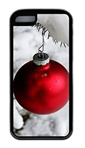 Customized Case Snow and Christmas ball TPU Black for Apple iPhone 5C