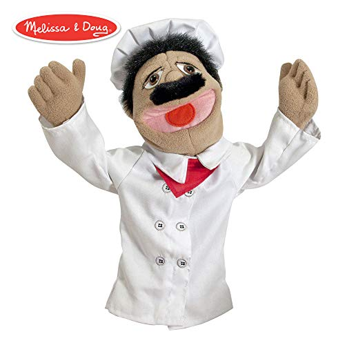 (Melissa & Doug Chef Puppet with Detachable Wooden Rod (Puppets & Puppet Theaters, Animated Gestures, Inspires Creativity, 15