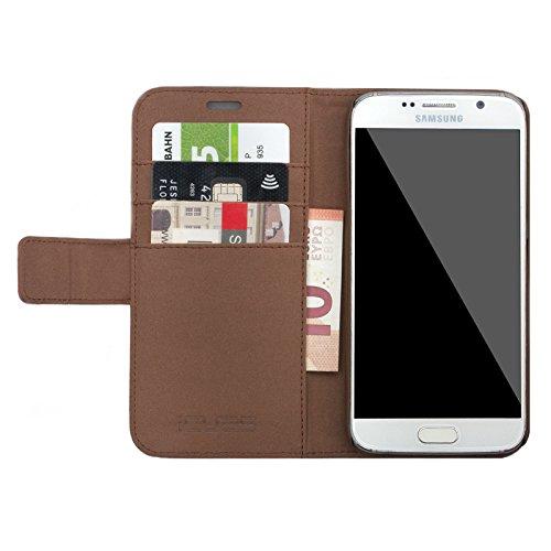 Samsung Galaxy S7   iCues Maraba de plata bolsa de carbono   ranura para tarjetas de cuero de alta calidad soporte función Stand - libro con bisagras de la manga bolsillo del teléfono celular bolsa pr Puppy Marrón metálico