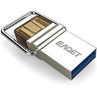EAGET Dual USB Flash Drive 64G Type C 3.1 + USB 3.0 Mini Metal Key Ring High Speed Waterproof