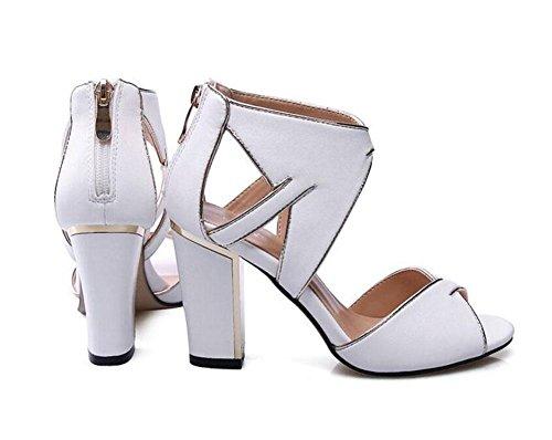 GLTER Mujeres Ankle Strap Bombas de cuero liso Sandalias de tacón alto Verano Zapatos de cabeza de los pescados Sandalias Zapatos Peep Toe Zapatos de tacón Bloque Corte Damas Bombas Negro Blanco white