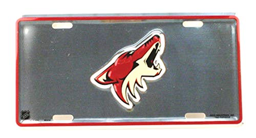 Rico Industries, Inc. Arizona Coyotes 6850M PV Silver Metal Tag Aluminum License Plate NHL Hockey Phoenix