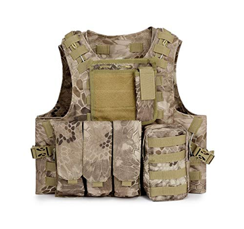 ESA Supplies Tactical Molle Airsoft Vest Paintball Combat Training Vest Soft Vest Tan Python - Molle Vest Paintball