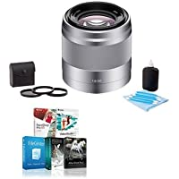 Sony 50mm F/1.8 OSS E-Mount Camera Lens, Silver BUNDLED w/49mm Kit (UV/CPL/ND2)