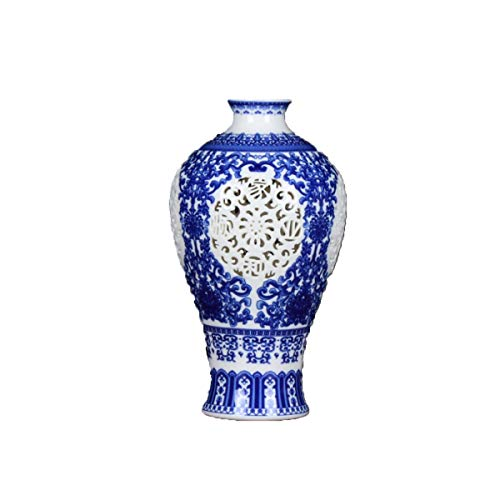 HENGT Traditional Ceramic Vase Hand-Carved Openwork Blue and White Porcelain Ivory Bone China Modern Home Fashion Decoration for Use in Home Office, Decor, Floor Vases, Spa (Color : Blue) ()