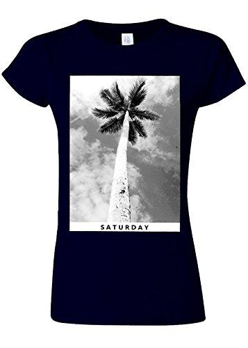 不利専門見る人Saturday Palm Holiday Summer Novelty Navy Women T Shirt Top-L