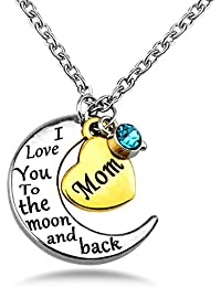 Mom Necklace Gift for Mother Love Heart Crystal Birthstone Necklaces Mother's Day Jewelry Platinum Plated