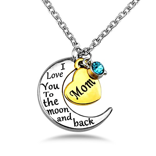YOUFENG Mom Necklace Gift for Mother Love Heart Crystal Birthstone Necklaces Mother's Day Jewelry Platinum Plated (Moon back mom (Crystal Mom Necklace)